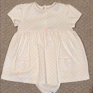 Little Me white and pink polka dot dress